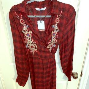 Long plaid Zara wrap dress